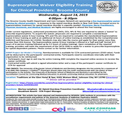 Buprenorphine Waiver Eligibility Training for Clinical Providers: Broome County