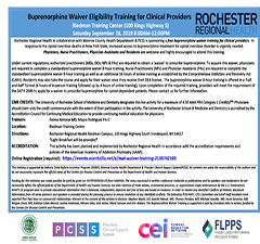 Buprenorphine Waiver Eligibility Training for Clinical Providers: Monroe County