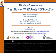 HepCure and CEI co-sponsored Webinar: Treat Now or Wait? Acute HCV Infection