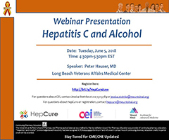 HepCure and CEI co-sponsored Webinar: Hepatitis C and Alcohol