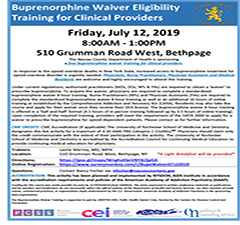 Buprenorphine Waiver Eligibility Training for Clinical Providers: Nassau County