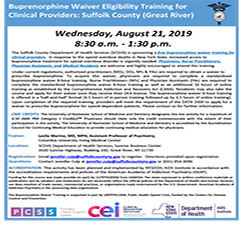 Buprenorphine Waiver Eligibility Training for Clinical Providers: Suffolk County (Great River)