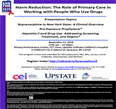 Central NY Medical Providers! Harm Reduction: The Role of Primary Care in Working with People Who Use Drugs