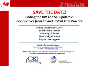 REGISTRATION NOW OPEN! Ending the HIV and STI Epidemic: Perspectives from ED and Urgent Care Practice